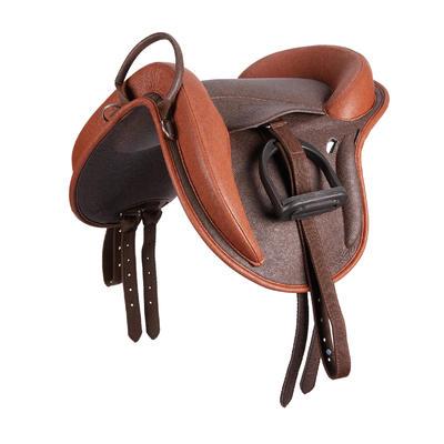 Сідло для поні синтетичне коричневе Fouganza